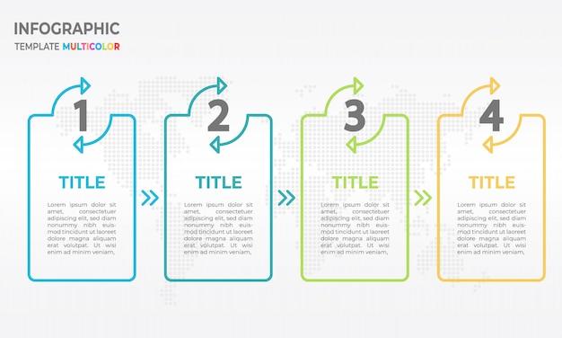 Processus de modèle de conception de ligne mince d'infographie 4 options.