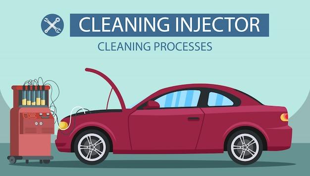 Processus de nettoyage injecteur. station service.