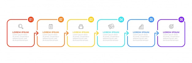 Processus plat mince. infographie d'entreprise avec 6 options, flèches.