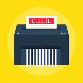 Processus de suppression de fichiers ou de documents supprimés.