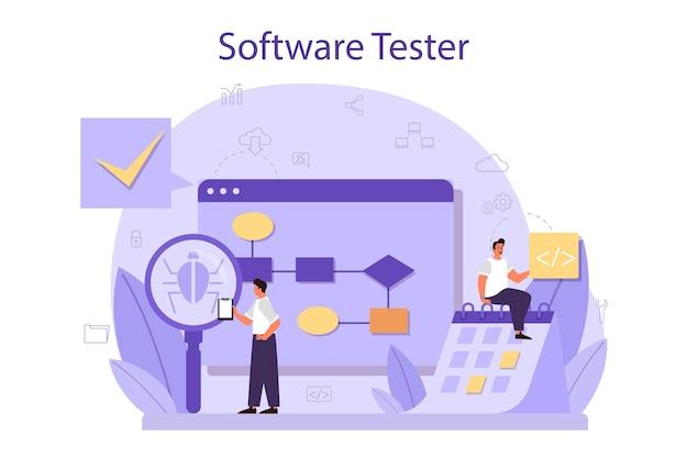 Processus de test de code d'application ou de site web