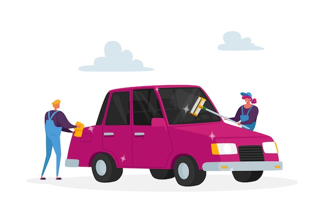 Processus de travail des employés de l'entreprise de nettoyage des personnages masculins ou féminins. concept de service de lavage de voiture