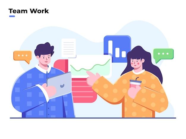 Processus de travail d'équipe d'entreprise discussion de travail d'équipe, réflexion et résolution d'un problème, remue-méninges