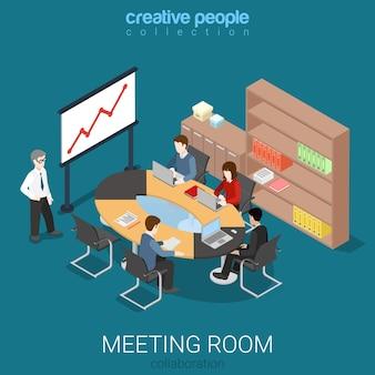 Processus de travail de présentation de salle de réunion isométrique plat