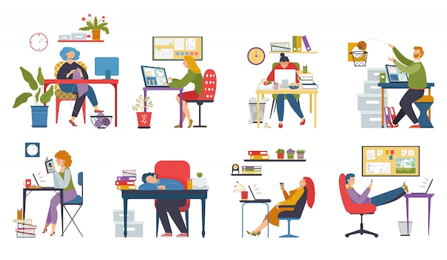 Procrastination au travail, paresseux au bureau, ensemble de personnages de dessins animés drôles, illustration