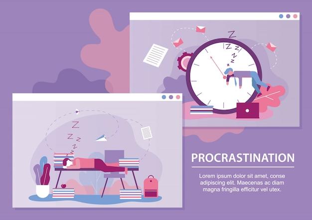 Procrastination metaphhor text cartoon banner set