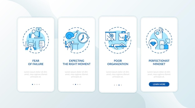 La procrastination provoque l'intégration de l'écran de la page de l'application mobile avec des concepts