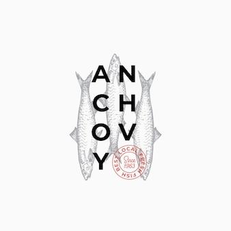 Producteurs de poisson ou modèle de signe, symbole ou logo vectoriel abstrait de restaurant.