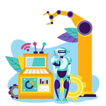 Production d'automatisation. contrôle de robot. vecteur.