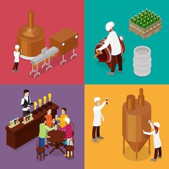 Production de bière de brasserie avec les travailleurs