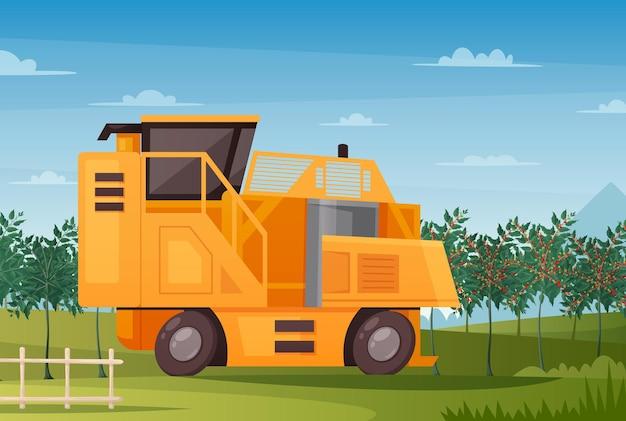 Production de café avec machine agricole et illustration de dessin animé de symboles de récolte,