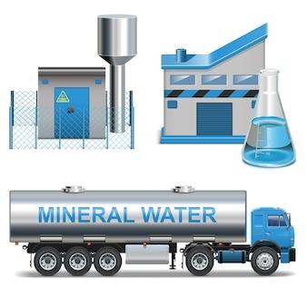 Production d'eaux minérales de vecteur isolé sur fond blanc