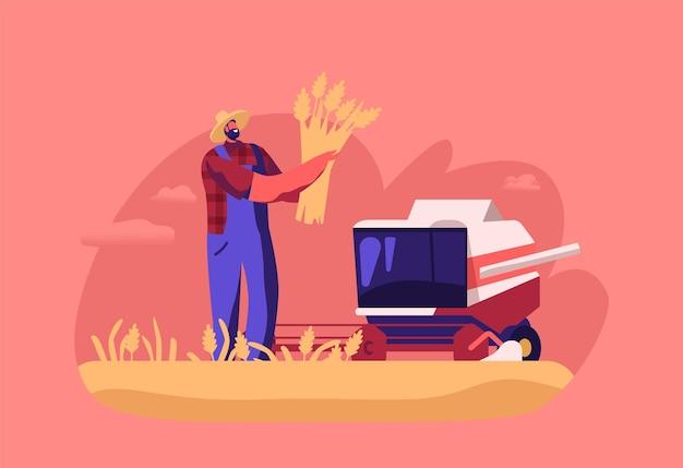 Production de farine, personnage de travailleur fauchant des épis de blé avec une moissonneuse sur le terrain, processus de fabrication de pain, industrie