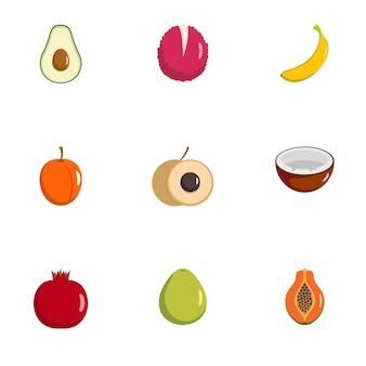 Produire des icônes définies. ensemble plat de 9 icônes de produits