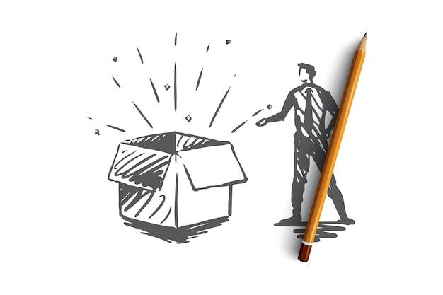 Produit, achat, entreprise, boutique, concept de commerce. client dessiné à la main et produit dans l'esquisse de concept de boîte.