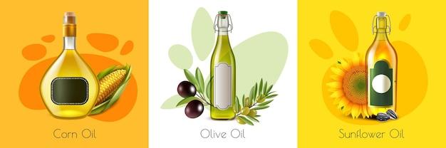 Produit à base d'huile réaliste avec maquette d'huiles d'olive de maïs et de tournesol