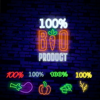 Produit bio dans le style néon. symbole néon, signe lumineux brillant