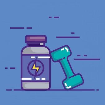 Produit de bouteille d'énergie avec haltère