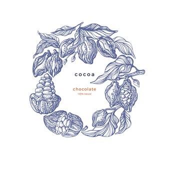 Produit de cacao dessinez à la main les feuilles de la branche de haricot en cercle. croquis gravé vintage