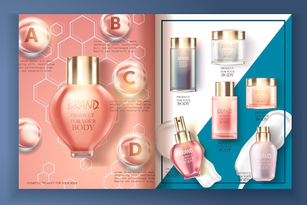 Produit de catalogue cosmétique bouteilles cosmétiques définies concept réaliste