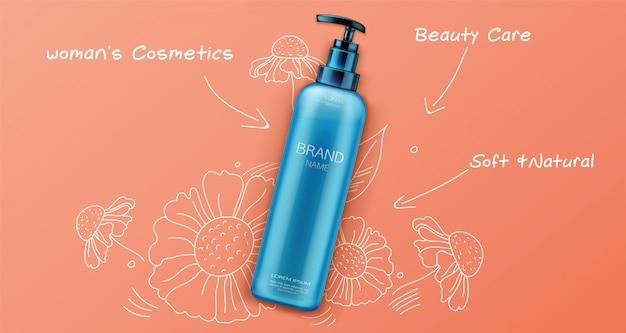 Produit cosmétique beauté naturelle pour les soins du visage ou du corps sur orange