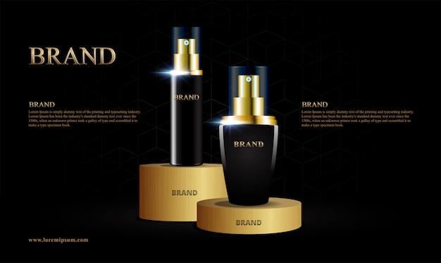 Produit cosmétique doré stand modèle géométrique luxueux
