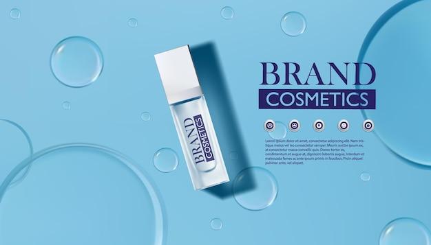 Produit cosmétique avec goutte d'eau sur bleu