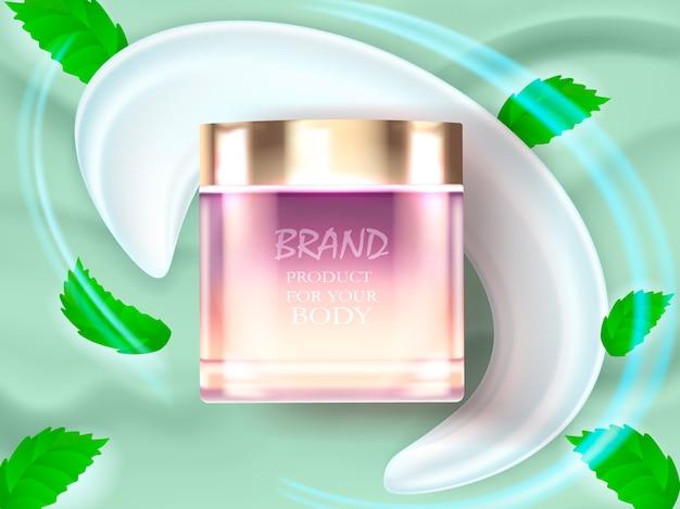 Produit cosmétique de marque et feuilles de thé, éclaboussures de crème. réaliste