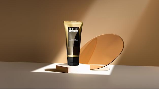 Produit cosmétique sur le podium avec des disques circulaires transparents illustration 3d de la maquette