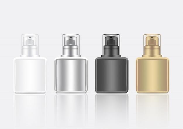 Produit cosmétique de soin de la peau de la bouteille 3d réaliste de mousse