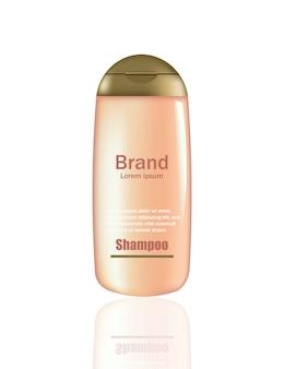 Produit cosmétique vector réaliste maquette. bouteille de paquet rose avec logo