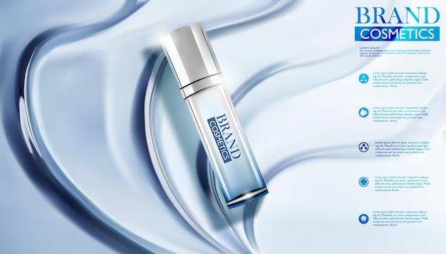 Produit de marque cosmétique avec blue water ripples. illustration cosmétique réaliste