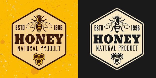 Produit de miel et apiculture deux styles vectoriels emblème, insigne, étiquette, autocollant ou logo sur fond jaune et foncé