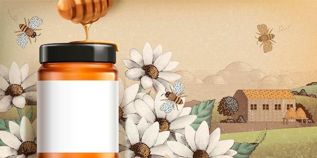 Produit de miel de fleurs sauvages en illustration 3d avec une étiquette blanche vierge pour des utilisations de conception sur des paysages de campagne gravés