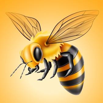 Produit de miel naturel d'abeille volante réaliste