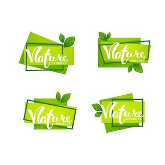 Produit de la nature, lettrage dessiné à la main et feuilles vert vif, collection d'étiquettes