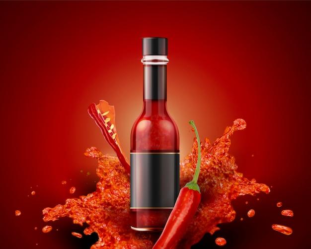 Produit de sauce piquante avec étiquette vierge en 3d sur fond rouge