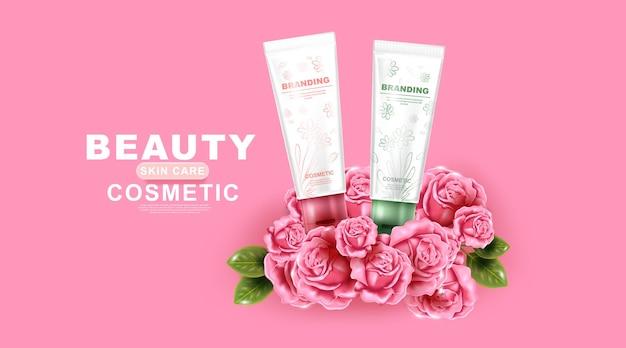 Produit de soin de la peau naturel conception de l'emballage et feuilles