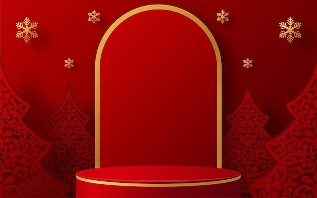 Produits 3d de conception de vecteur de fond de podium de noël et du nouvel an