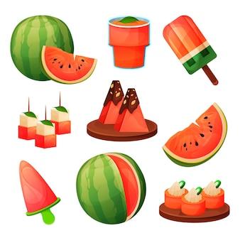 Produits alimentaires aux fruits de pastèque, boissons à base de jus et desserts