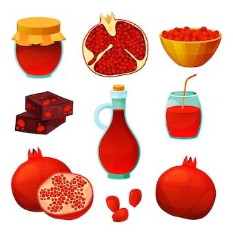 Produits alimentaires à base de fruits de grenade, jus de fruits frais et desserts sucrés