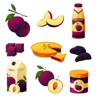 Produits alimentaires à base de prune, pruneaux sucrés et jus