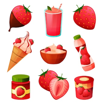 Produits alimentaires à la fraise, boissons aux fruits de baies et bonbons