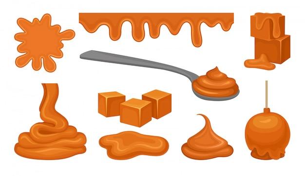 Produits d'aramel sur fond blanc. concept de caramel.