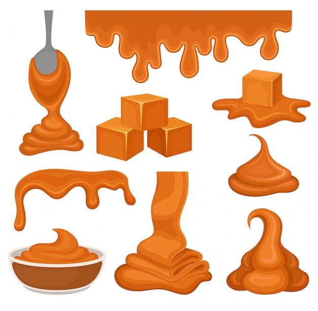 Produits d'aramel ollection sur fond blanc. concept de caramel.