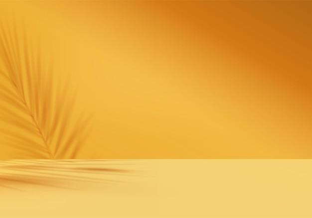 Les produits d'arrière-plan 3d affichent une scène de podium avec une plate-forme géométrique de feuille jaune. vecteur de fond rendu 3d avec podium. stand pour montrer le produit cosmétique. vitrine de scène sur socle présentoir jaune
