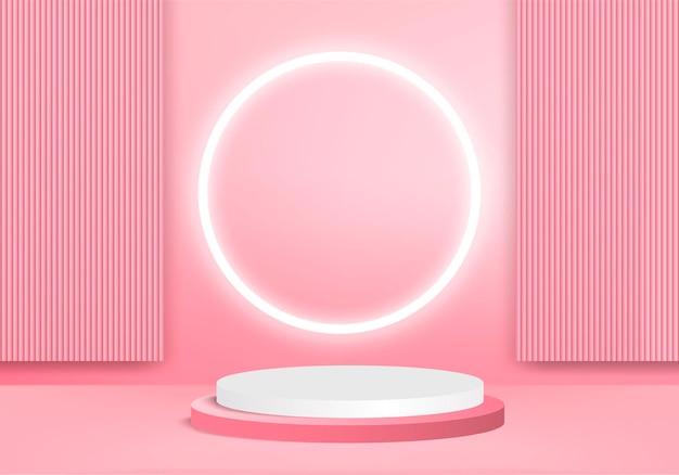 Les produits d'arrière-plan 3d affichent une scène de podium avec une plate-forme géométrique. rendu 3d de fond avec podium. stand pour montrer des produits cosmétiques. vitrine de scène sur socle affichage studio rose
