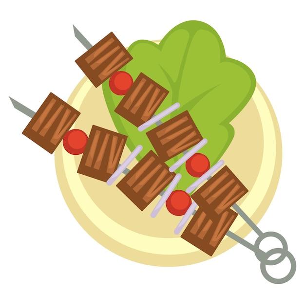 Produits à base de viande et plats, icône isolée de brochette avec tranches de mouton ou de porc, volaille ou boeuf avec tomates cerises et feuilles de salade. mode de vie sain et régimes amaigrissants, nutrition. vecteur dans un style plat