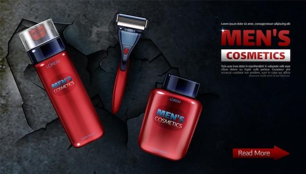 Produits de beauté pour hommes, lame de rasoir de sécurité, mousse à raser, lotion après-rasage.