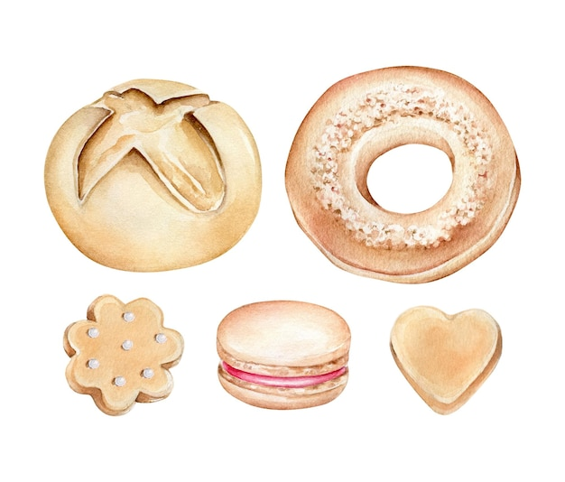 Produits de boulangerie aquarelle